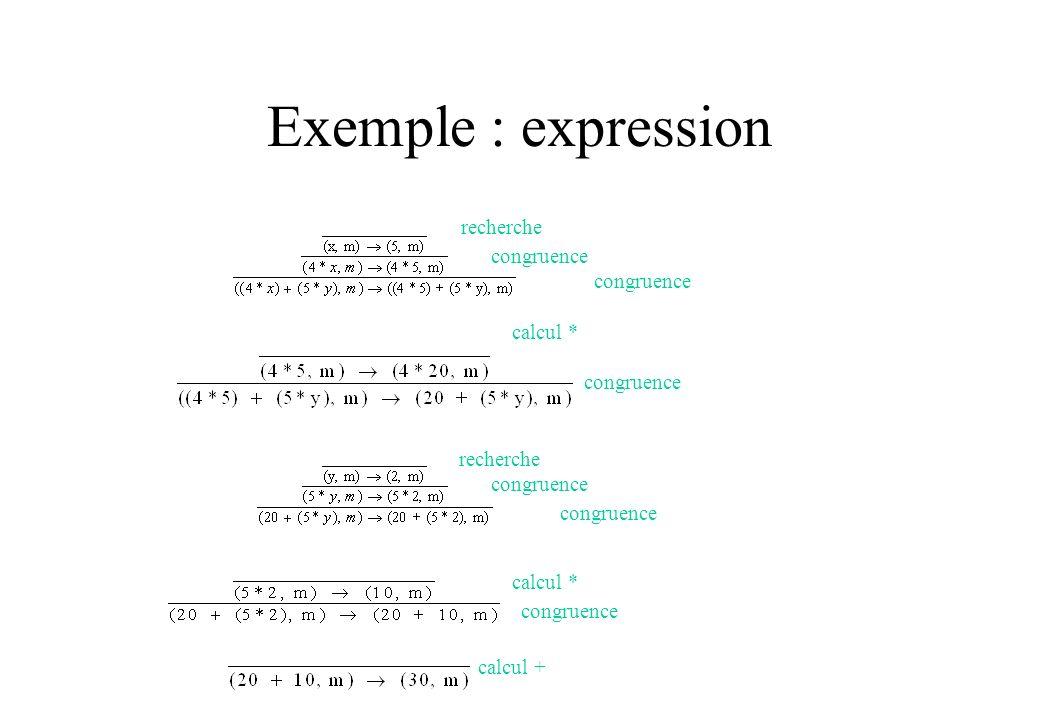 Exemple : expression congruence recherche congruence calcul * congruence recherche congruence calcul * congruence calcul +