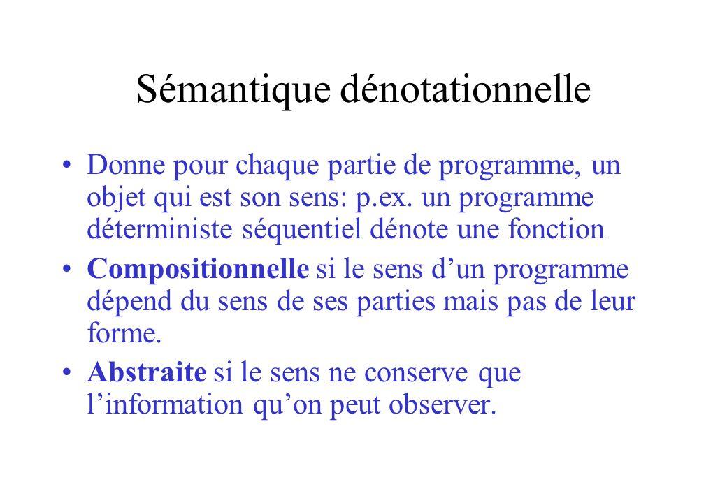 Sémantique dénotationnelle Donne pour chaque partie de programme, un objet qui est son sens: p.ex. un programme déterministe séquentiel dénote une fon