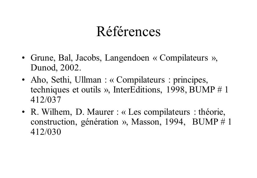 Références Grune, Bal, Jacobs, Langendoen « Compilateurs », Dunod, 2002. Aho, Sethi, Ullman : « Compilateurs : principes, techniques et outils », Inte