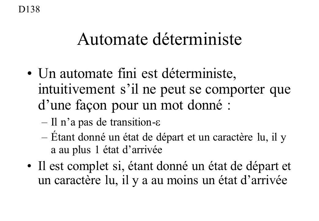 Automate déterministe Un automate fini est déterministe, intuitivement sil ne peut se comporter que dune façon pour un mot donné : –Il na pas de trans
