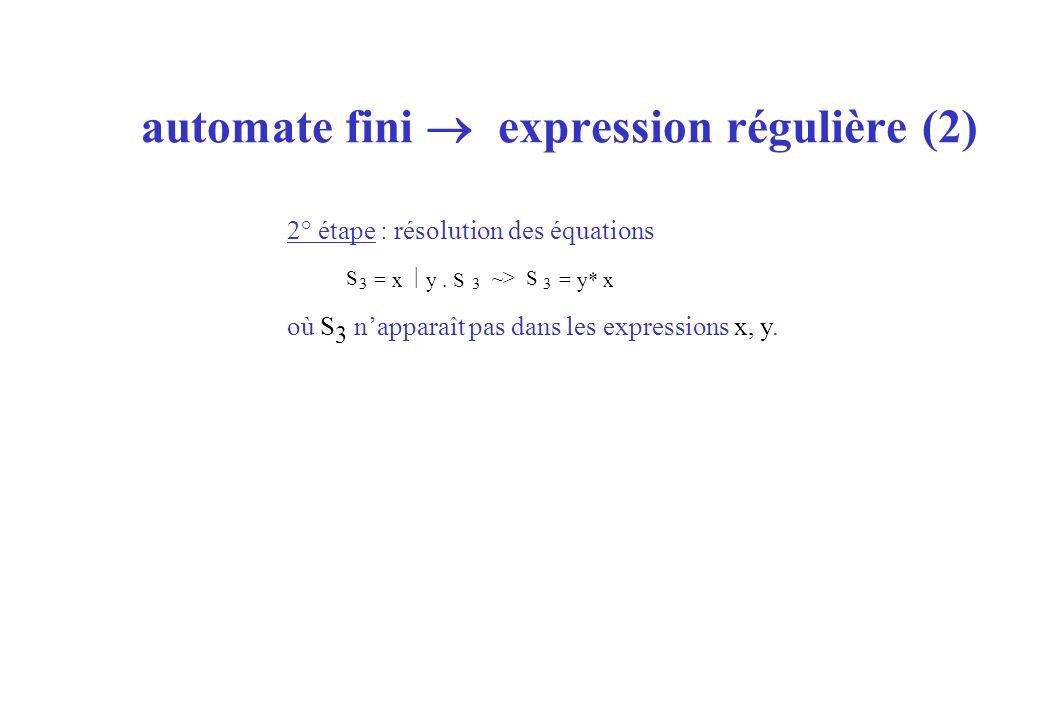 automate fini expression régulière (2) 2° étape : résolution des équations où S 3 napparaît pas dans les expressions x, y. S 3 = x y. S 3 ~> S 3 = y*