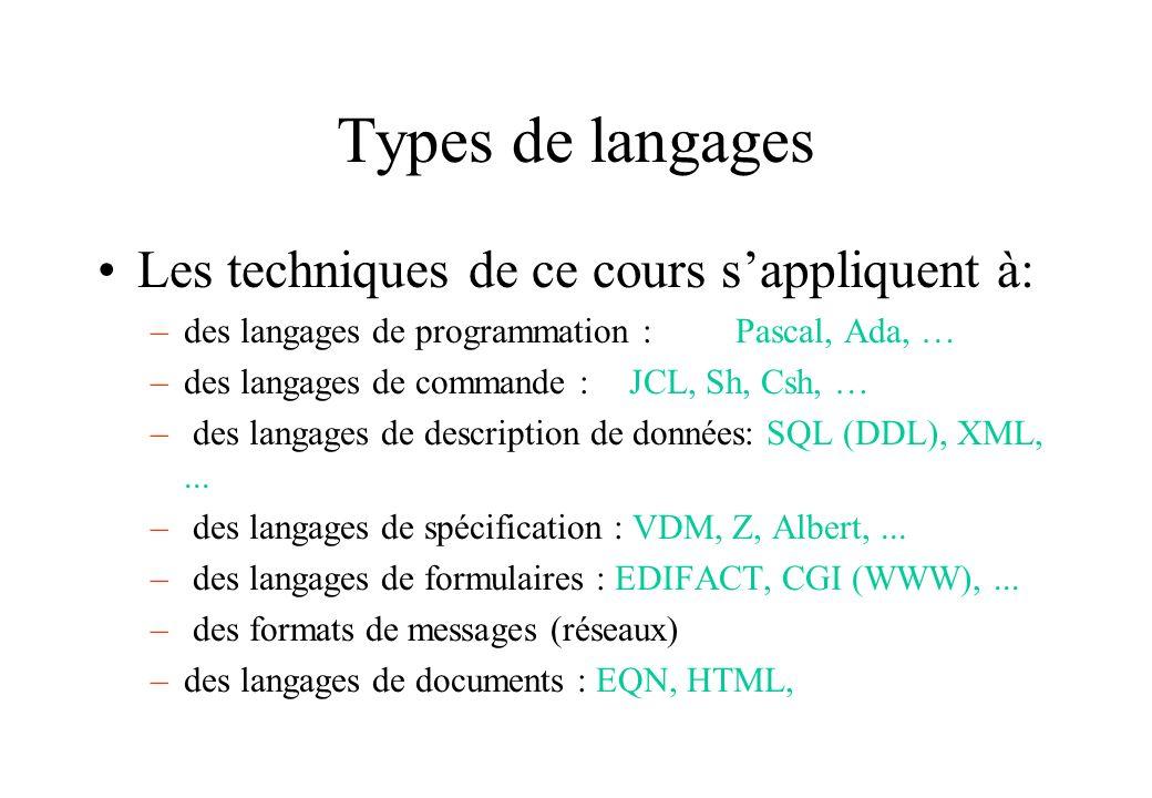 Types de langages Les techniques de ce cours sappliquent à: –des langages de programmation :Pascal, Ada, … –des langages de commande : JCL, Sh, Csh, …