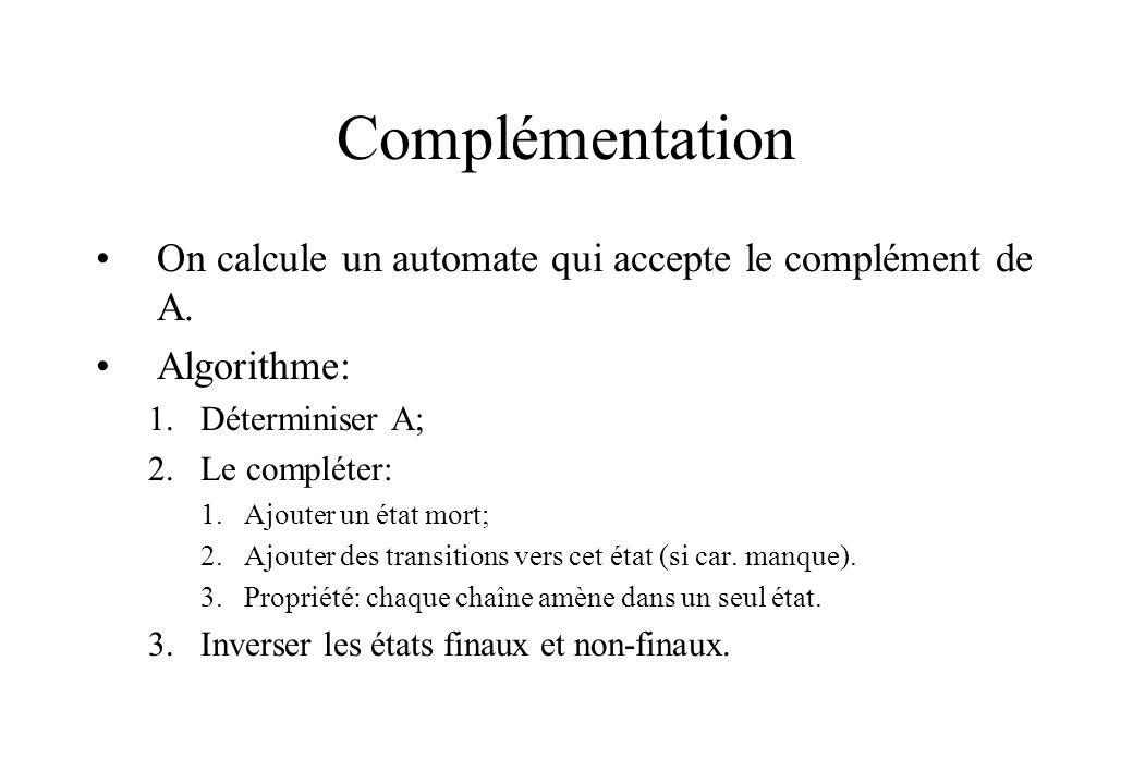 Complémentation On calcule un automate qui accepte le complément de A. Algorithme: 1.Déterminiser A; 2.Le compléter: 1.Ajouter un état mort; 2.Ajouter