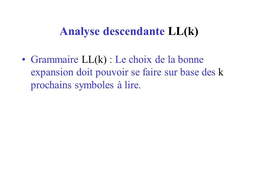 Analyse descendante LL(k) Grammaire LL(k) : Le choix de la bonne expansion doit pouvoir se faire sur base des k prochains symboles à lire.
