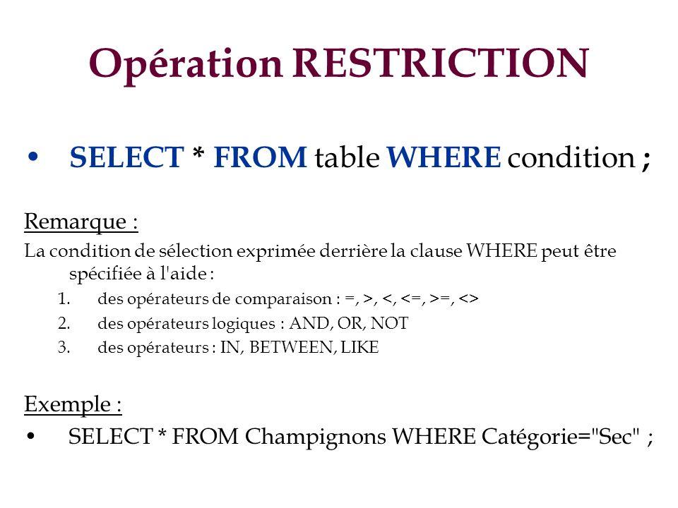 Opération RESTRICTION SELECT * FROM table WHERE condition ; Remarque : La condition de sélection exprimée derrière la clause WHERE peut être spécifiée