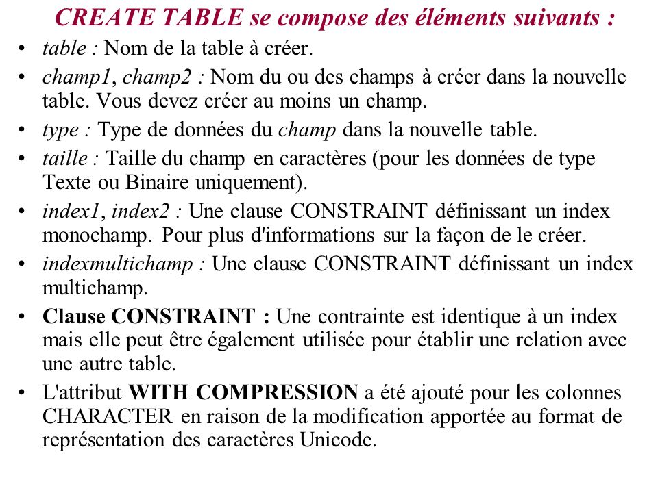 Exemples avec CREATE TABLE CREATE TABLE ThisTable(FirstName CHAR, LastName CHAR); CREATE TABLE MyTable( FirstName CHAR, LastName CHAR, [DateOfBirth] DATETIME, CONSTRAINT MyTableConstraint UNIQUE(FirstName, LastName, [DateOfBirth])); CREATE TABLE NewTable( FirstName CHAR, LastName CHAR, SSN INTEGER CONSTRAINT MyFieldConstraint PRIMARY KEY);