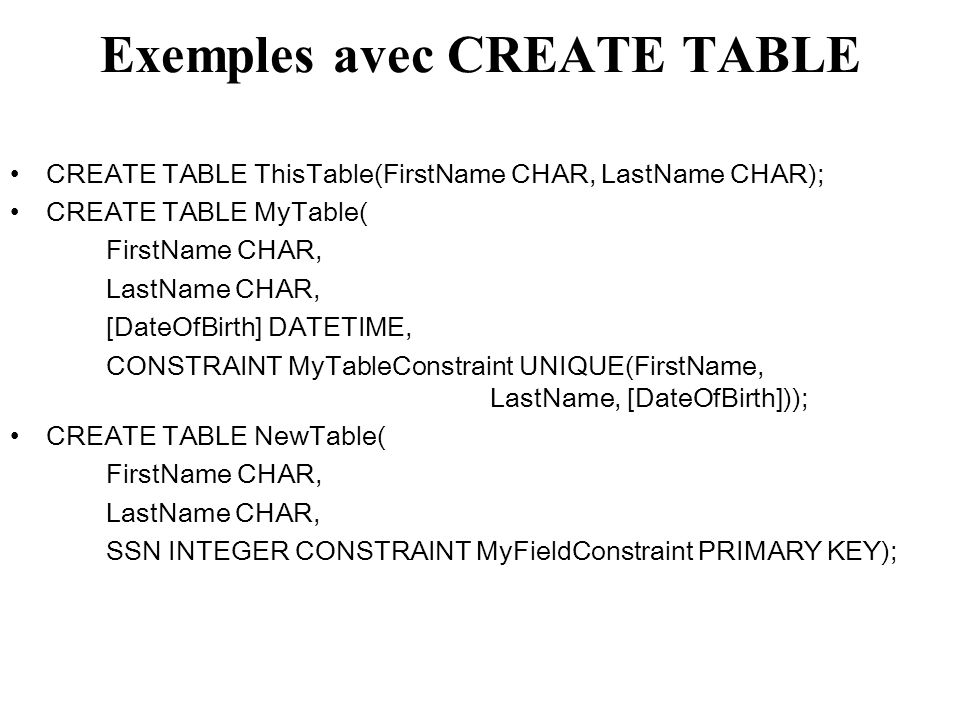 Opération UNION SELECT liste d attributs FROM table1 UNION SELECT liste d attributs FROM table 2 ; Exemple : SELECT n°enseignant, NomEnseignant FROM E1 UNION SELECT n°enseignant, NomEnseignant FROM E2 ;