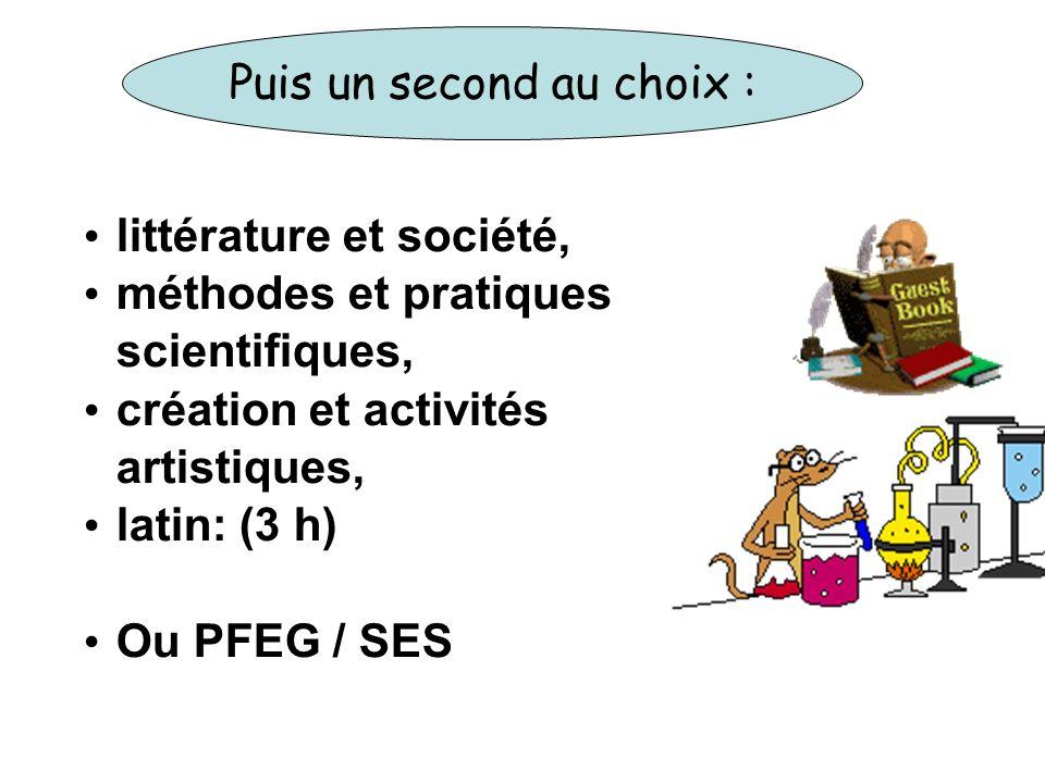 littérature et société, méthodes et pratiques scientifiques, création et activités artistiques, latin: (3 h) Ou PFEG / SES Puis un second au choix :