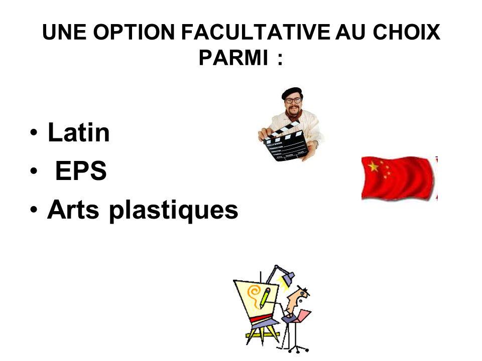 UNE OPTION FACULTATIVE AU CHOIX PARMI : Latin EPS Arts plastiques