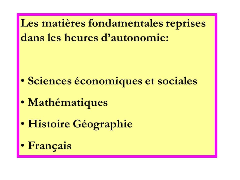 Les matières fondamentales reprises dans les heures dautonomie: Sciences économiques et sociales Mathématiques Histoire Géographie Français