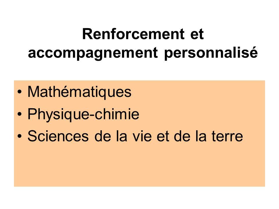 Renforcement et accompagnement personnalisé Mathématiques Physique-chimie Sciences de la vie et de la terre