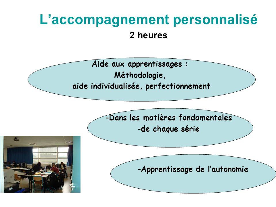 Laccompagnement personnalisé 2 heures Aide aux apprentissages : Méthodologie, aide individualisée, perfectionnement -Apprentissage de lautonomie -Dans