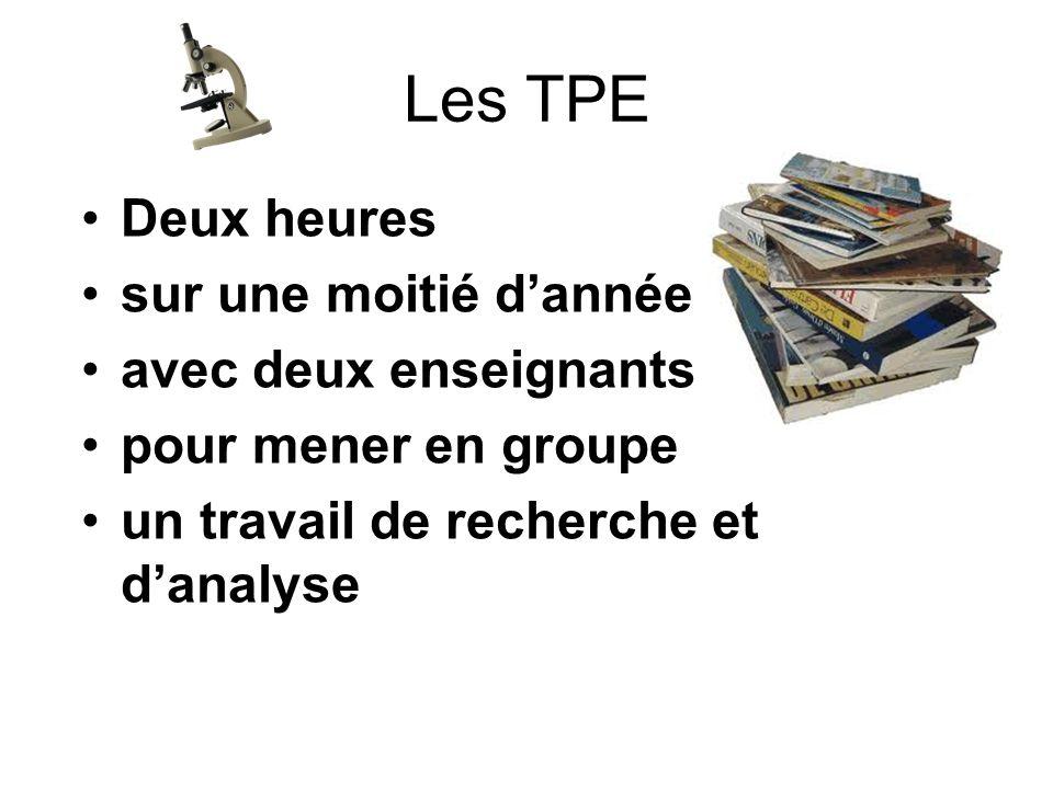 Les TPE Deux heures sur une moitié dannée avec deux enseignants pour mener en groupe un travail de recherche et danalyse
