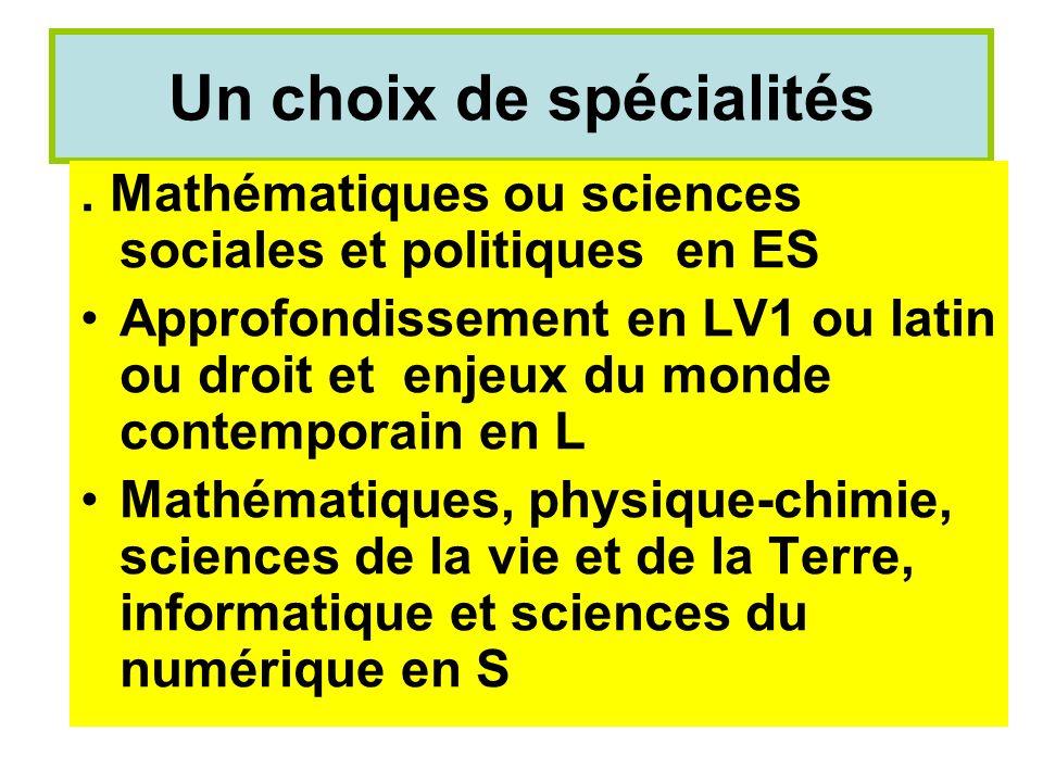 Un choix de spécialités. Mathématiques ou sciences sociales et politiques en ES Approfondissement en LV1 ou latin ou droit et enjeux du monde contempo