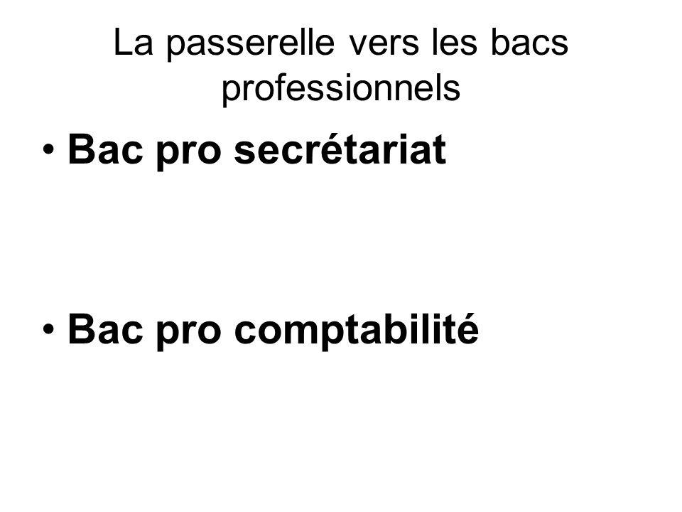 La passerelle vers les bacs professionnels Bac pro secrétariat Bac pro comptabilité