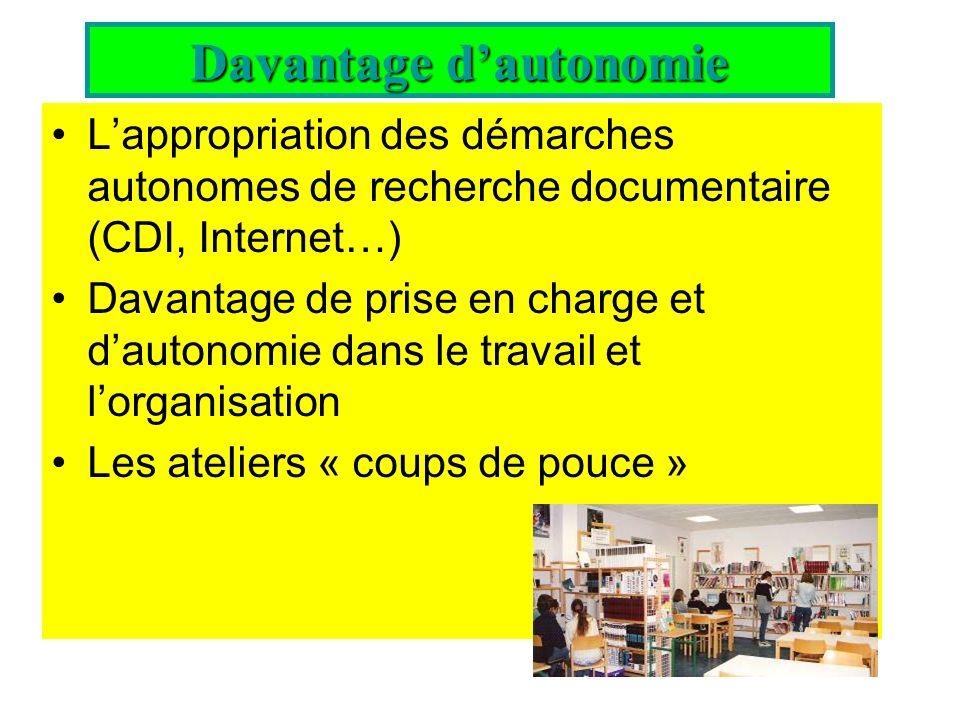 Lappropriation des démarches autonomes de recherche documentaire (CDI, Internet…) Davantage de prise en charge et dautonomie dans le travail et lorgan