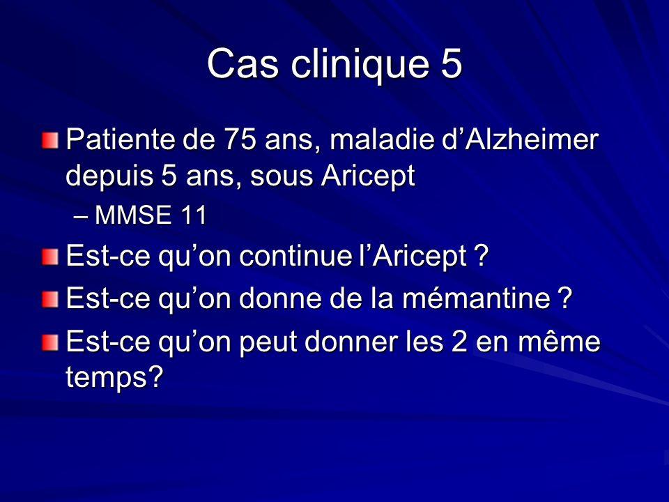 Cas clinique 5 Patiente de 75 ans, maladie dAlzheimer depuis 5 ans, sous Aricept –MMSE 11 Est-ce quon continue lAricept ? Est-ce quon donne de la méma
