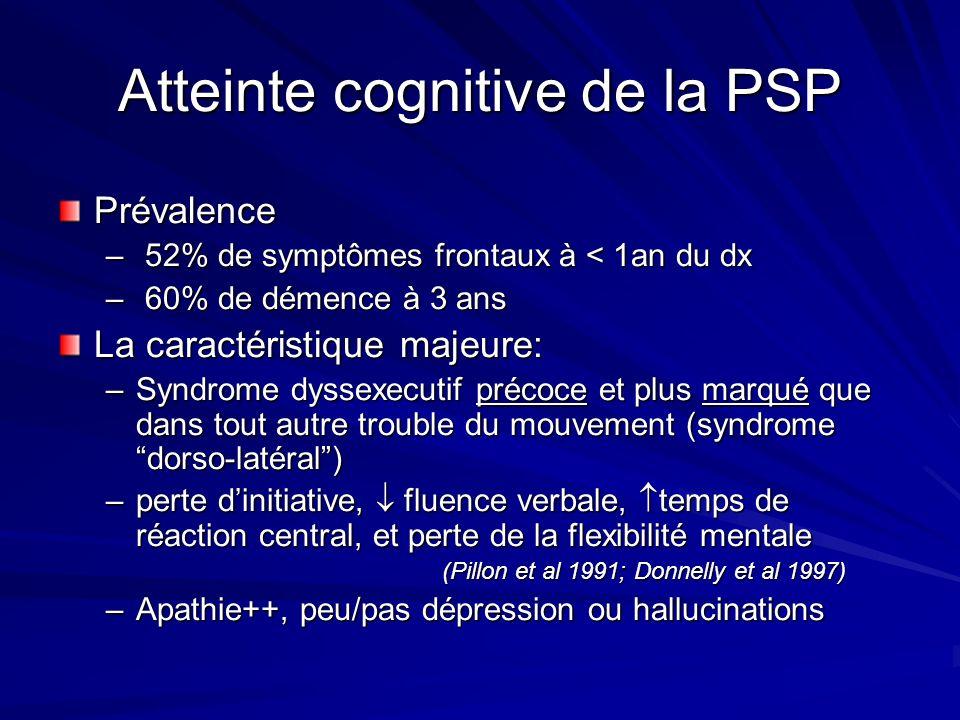 Atteinte cognitive de la PSP Prévalence – 52% de symptômes frontaux à < 1an du dx – 60% de démence à 3 ans La caractéristique majeure: –Syndrome dysse