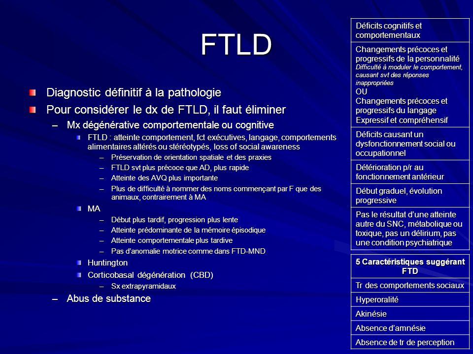 FTLD Diagnostic définitif à la pathologie Pour considérer le dx de FTLD, il faut éliminer –Mx dégénérative comportementale ou cognitive FTLD : atteint