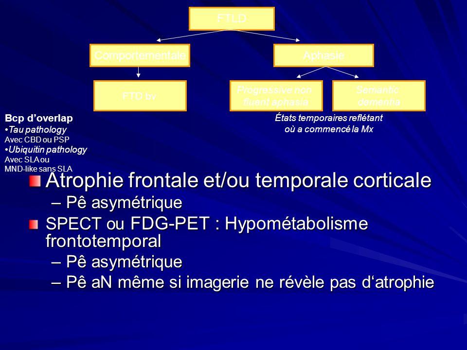 FTLD ComportementaleAphasie Progressive non fluent aphasia Semantic dementia États temporaires reflétant où a commencé la Mx FTD bv Bcp doverlap Tau p