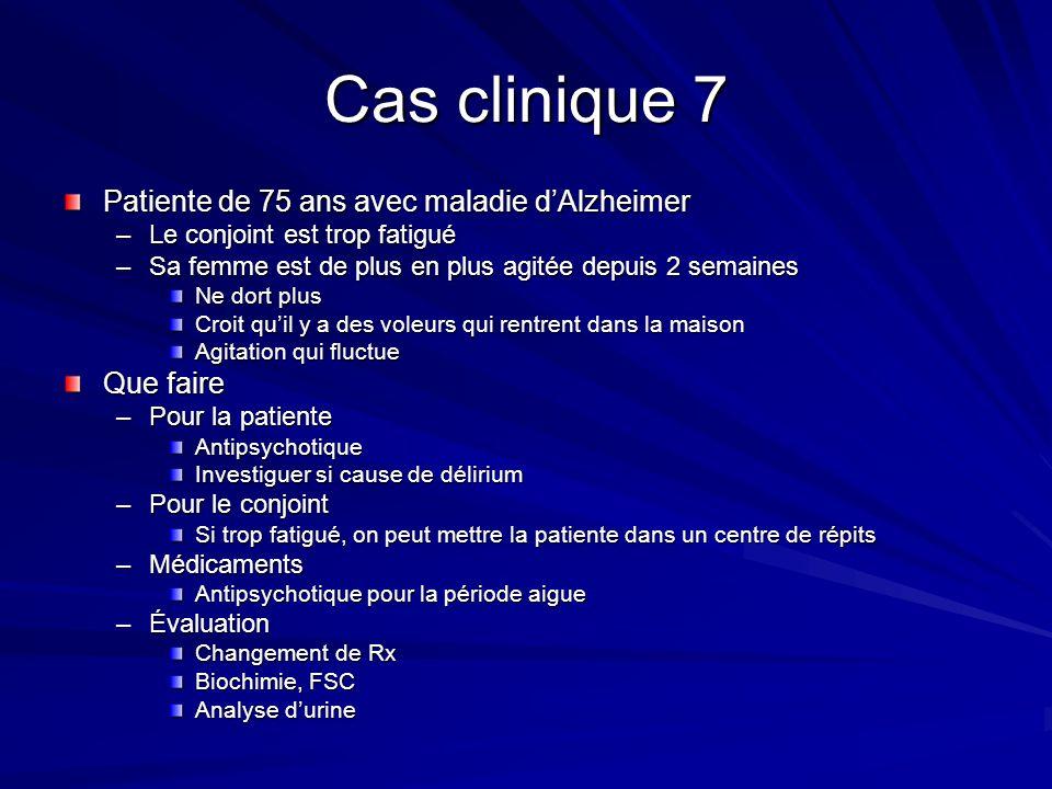 Cas clinique 7 Patiente de 75 ans avec maladie dAlzheimer –Le conjoint est trop fatigué –Sa femme est de plus en plus agitée depuis 2 semaines Ne dort