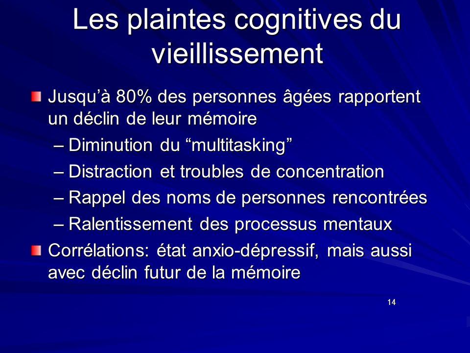 Les plaintes cognitives du vieillissement Jusquà 80% des personnes âgées rapportent un déclin de leur mémoire –Diminution du multitasking –Distraction
