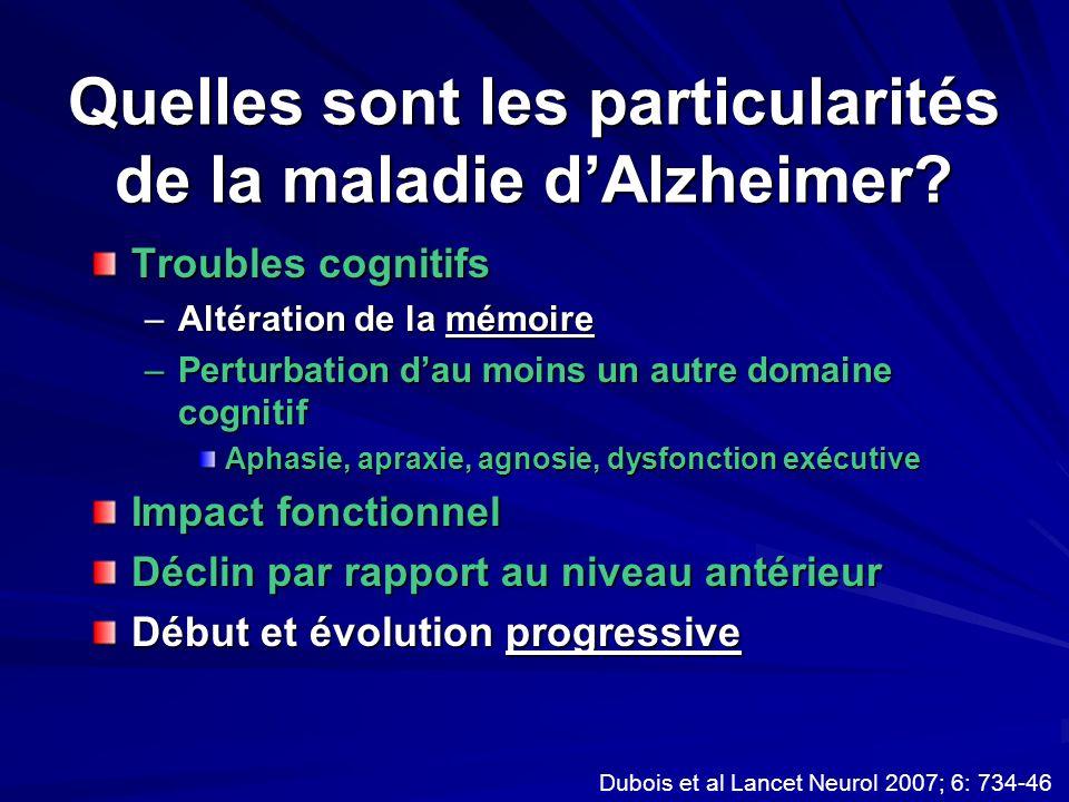 Quelles sont les particularités de la maladie dAlzheimer? Troubles cognitifs –Altération de la mémoire –Perturbation dau moins un autre domaine cognit