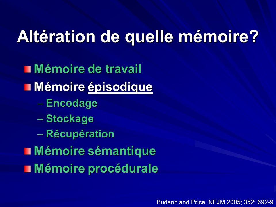 Altération de quelle mémoire? Mémoire de travail Mémoire épisodique –Encodage –Stockage –Récupération Mémoire sémantique Mémoire procédurale Budson an