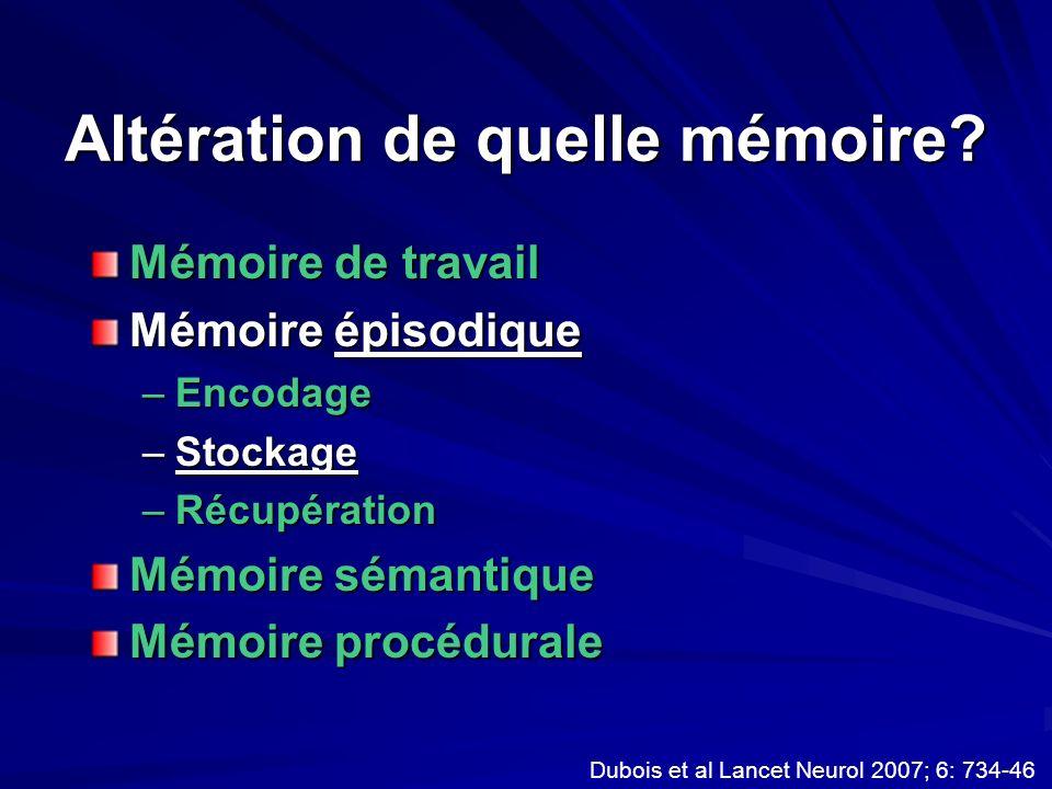 Altération de quelle mémoire? Mémoire de travail Mémoire épisodique –Encodage –Stockage –Récupération Mémoire sémantique Mémoire procédurale Dubois et