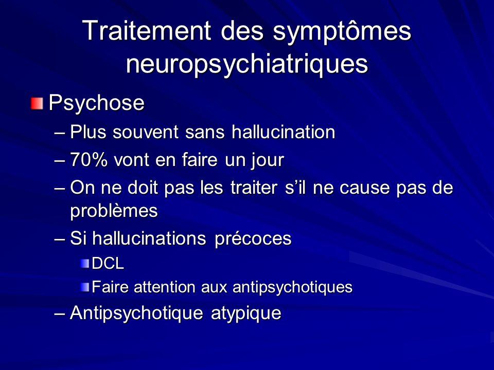 Traitement des symptômes neuropsychiatriques Psychose –Plus souvent sans hallucination –70% vont en faire un jour –On ne doit pas les traiter sil ne c