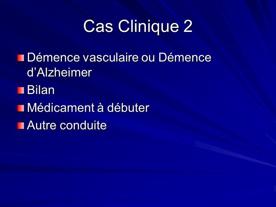 Cas clinique 1 Hypothèse Dx –Alzheimer Investigation –Vitamine B12, électrolyte avec Ca, TSH, scan cérébral –Spect –Consultation en neuropsychiatrie Traitement à débuter –anticholinestérase Autres conduites à tenir –Mandat en cas dinaptitude –Testament