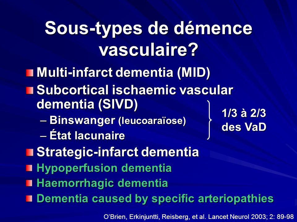 Sous-types de démence vasculaire? Multi-infarct dementia (MID) Subcortical ischaemic vascular dementia (SIVD) –Binswanger (leucoaraïose) –État lacunai