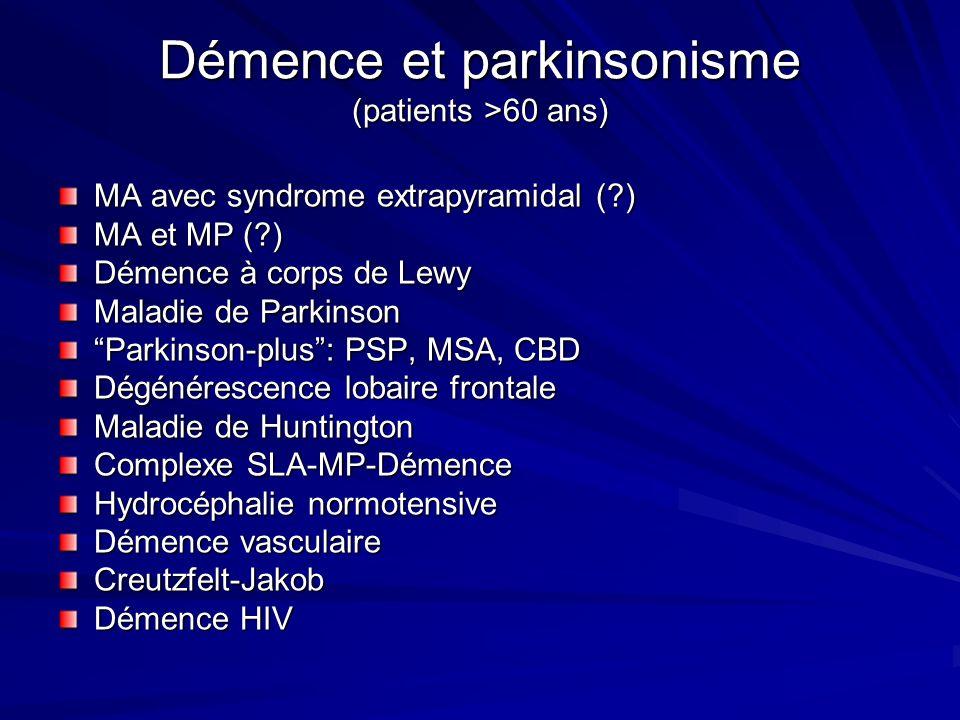Démence et parkinsonisme (patients >60 ans) MA avec syndrome extrapyramidal (?) MA et MP (?) Démence à corps de Lewy Maladie de Parkinson Parkinson-pl