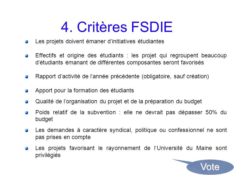 4. Critères FSDIE Les projets doivent émaner dinitiatives étudiantes Effectifs et origine des étudiants : les projet qui regroupent beaucoup détudiant