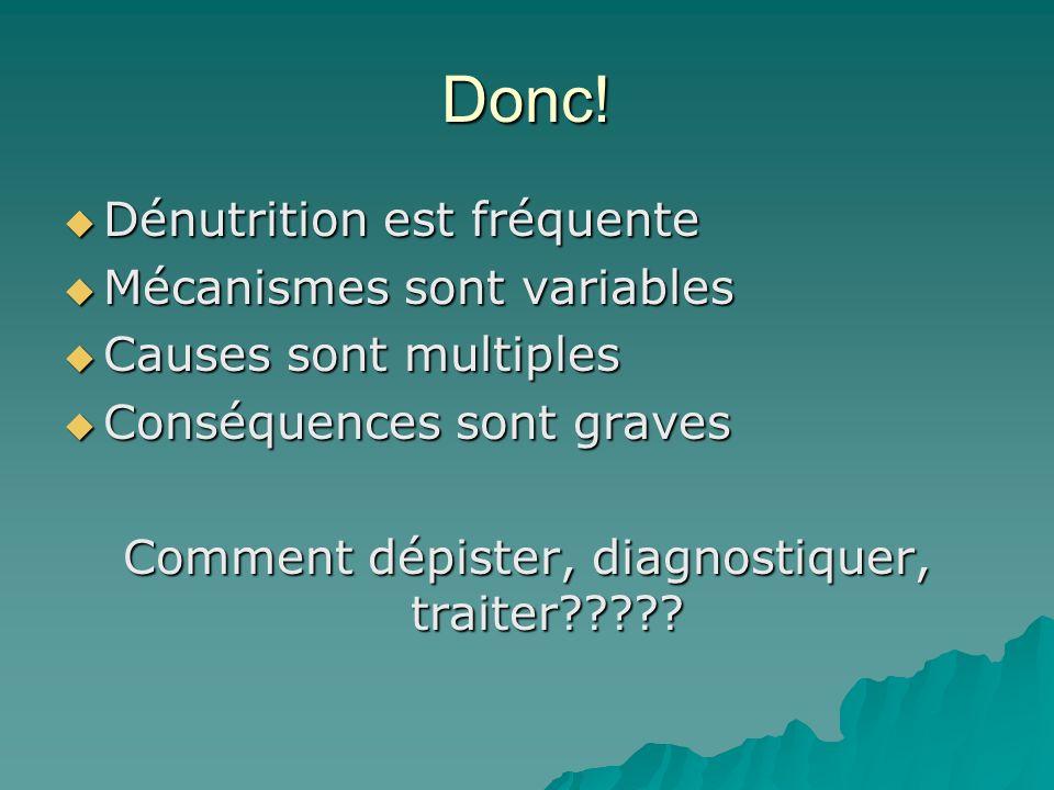 Donc! Dénutrition est fréquente Dénutrition est fréquente Mécanismes sont variables Mécanismes sont variables Causes sont multiples Causes sont multip