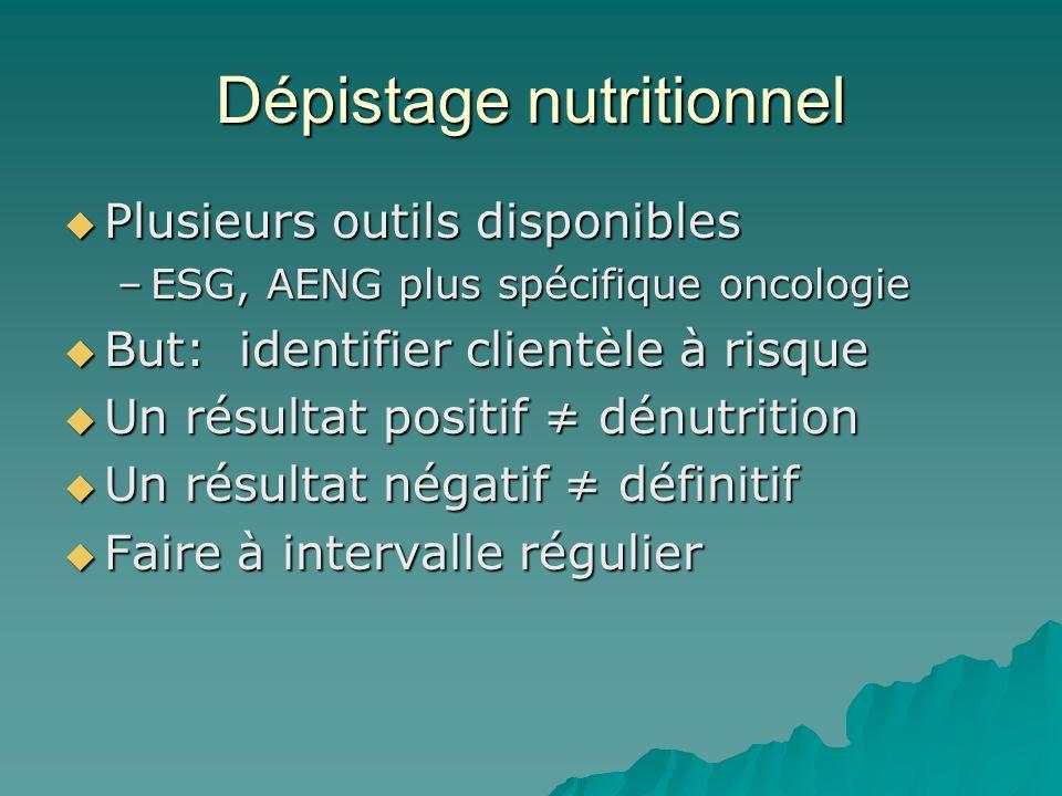 Dépistage nutritionnel Plusieurs outils disponibles Plusieurs outils disponibles –ESG, AENG plus spécifique oncologie But: identifier clientèle à risq