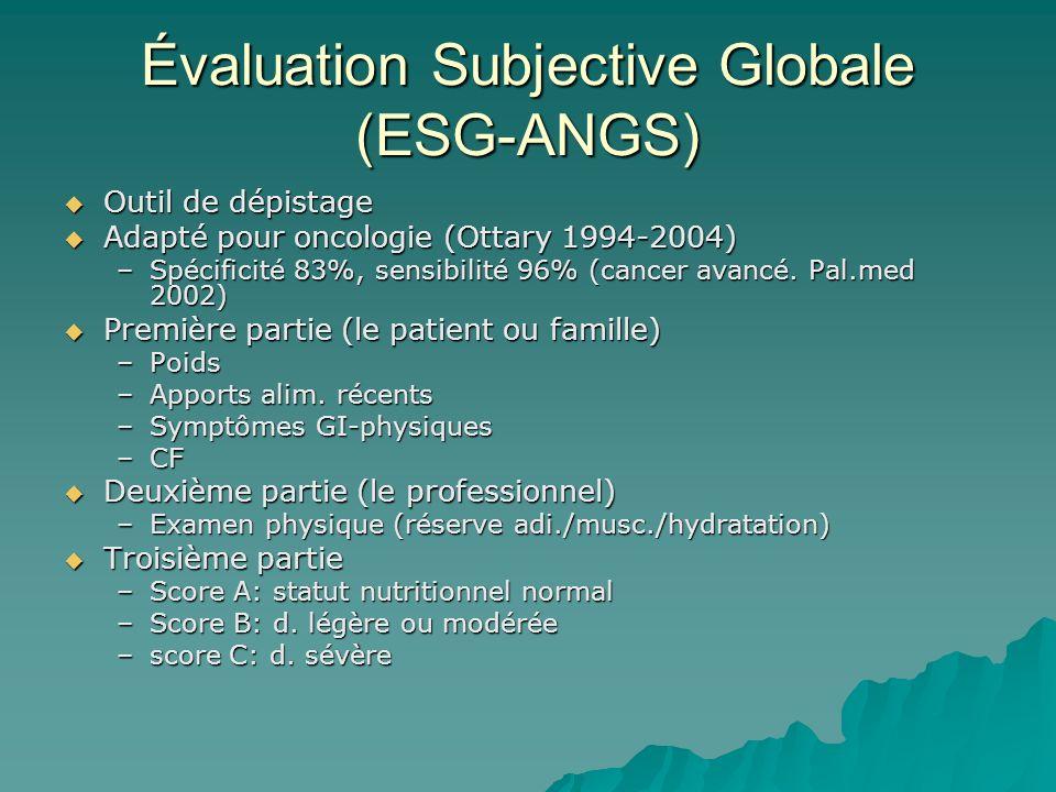 Évaluation Subjective Globale (ESG-ANGS) Outil de dépistage Outil de dépistage Adapté pour oncologie (Ottary 1994-2004) Adapté pour oncologie (Ottary