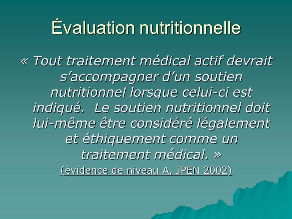 Évaluation nutritionnelle « Tout traitement médical actif devrait saccompagner dun soutien nutritionnel lorsque celui-ci est indiqué. Le soutien nutri