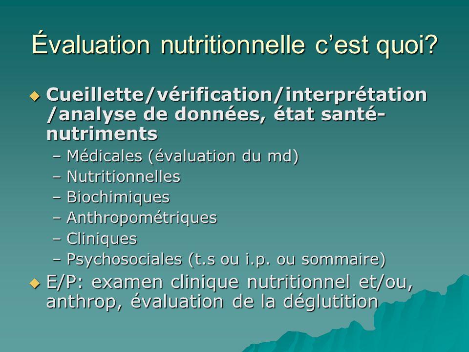 Évaluation nutritionnelle cest quoi? Cueillette/vérification/interprétation /analyse de données, état santé- nutriments Cueillette/vérification/interp