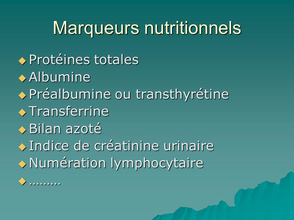 Marqueurs nutritionnels Protéines totales Protéines totales Albumine Albumine Préalbumine ou transthyrétine Préalbumine ou transthyrétine Transferrine