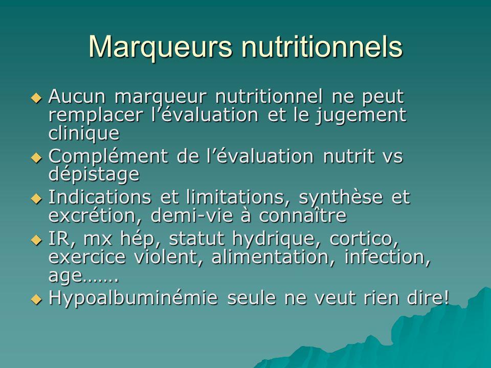 Marqueurs nutritionnels Aucun marqueur nutritionnel ne peut remplacer lévaluation et le jugement clinique Aucun marqueur nutritionnel ne peut remplace