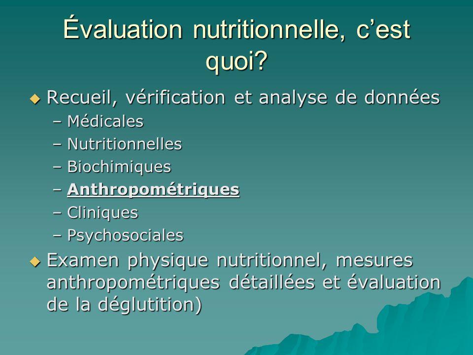 Évaluation nutritionnelle, cest quoi? Recueil, vérification et analyse de données Recueil, vérification et analyse de données –Médicales –Nutritionnel