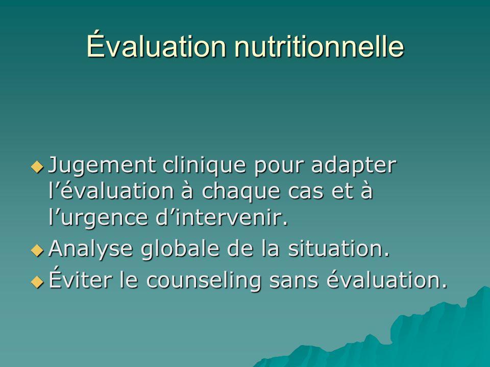 Évaluation nutritionnelle Jugement clinique pour adapter lévaluation à chaque cas et à lurgence dintervenir. Jugement clinique pour adapter lévaluatio