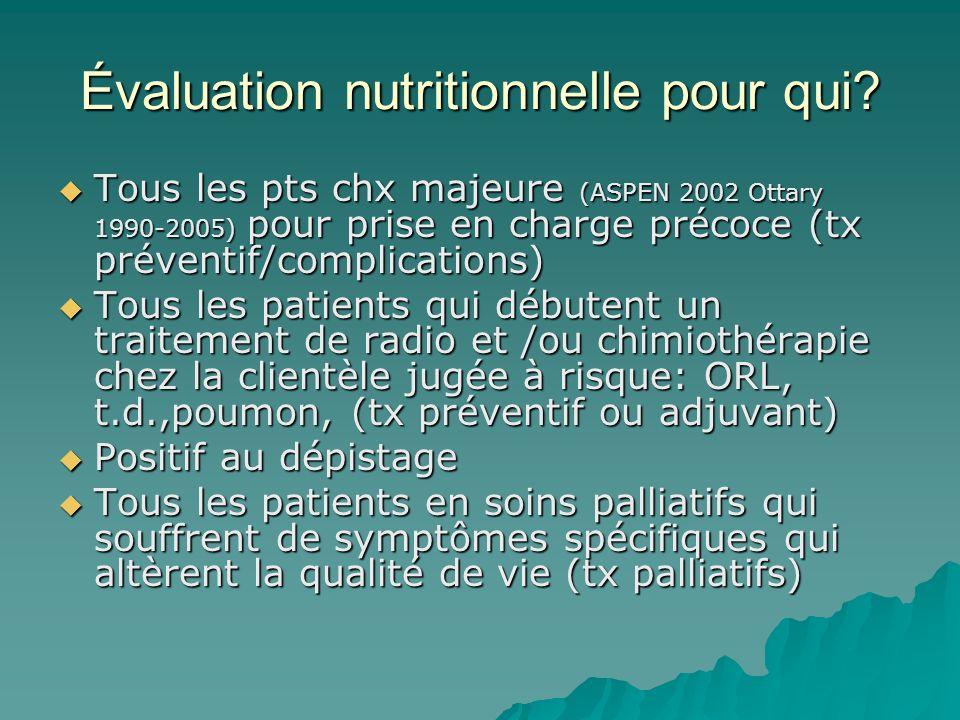 Évaluation nutritionnelle pour qui? Tous les pts chx majeure (ASPEN 2002 Ottary 1990-2005) pour prise en charge précoce (tx préventif/complications) T