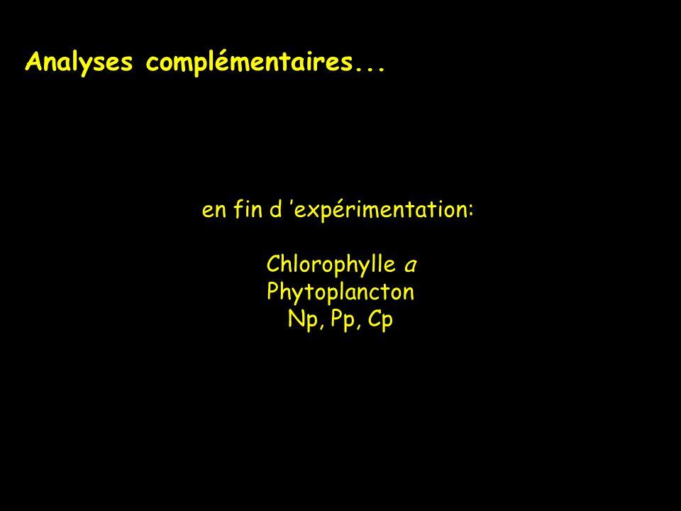 Analyses complémentaires... en fin d expérimentation: Chlorophylle a Phytoplancton Np, Pp, Cp