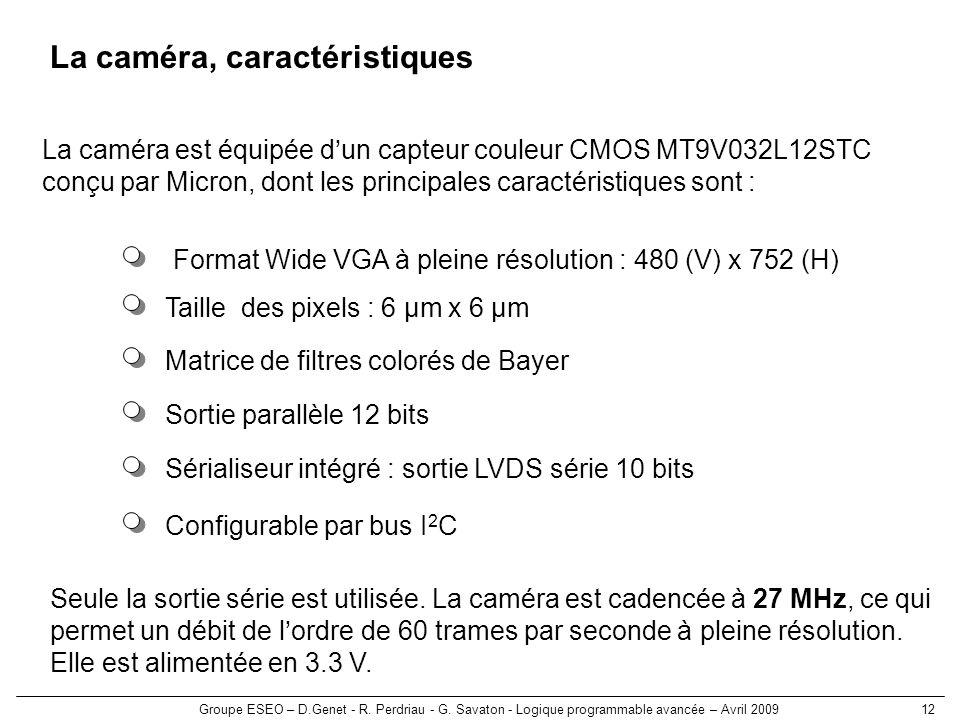Groupe ESEO – D.Genet - R. Perdriau - G. Savaton - Logique programmable avancée – Avril 200912 La caméra, caractéristiques Taille des pixels : 6 µm x