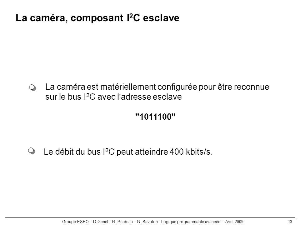 Groupe ESEO – D.Genet - R. Perdriau - G. Savaton - Logique programmable avancée – Avril 200913 La caméra, composant I 2 C esclave Le débit du bus I 2