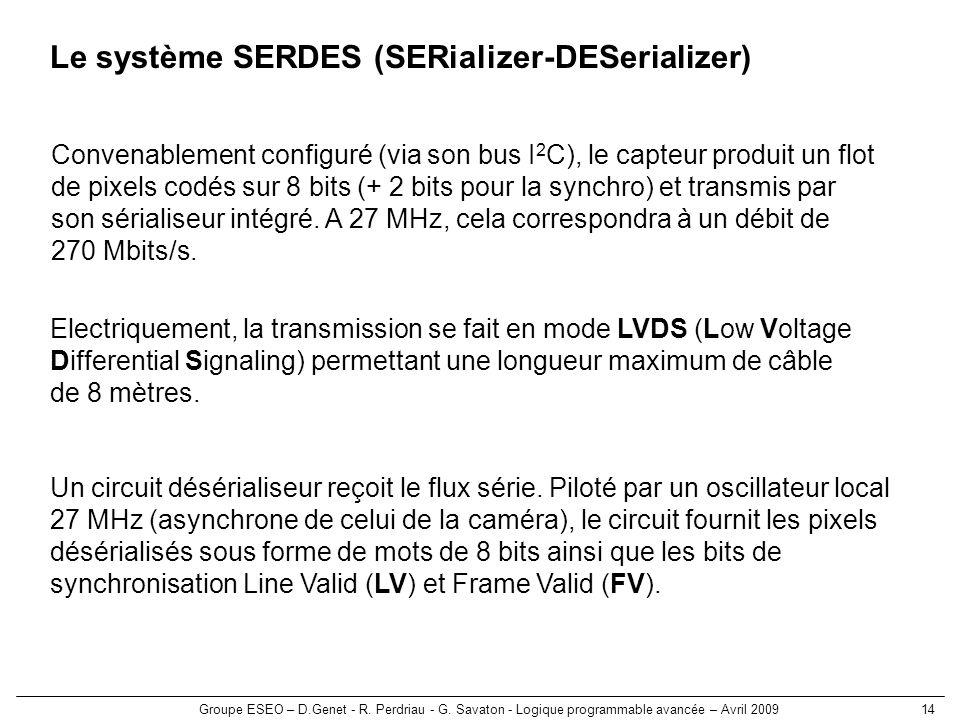 Groupe ESEO – D.Genet - R. Perdriau - G. Savaton - Logique programmable avancée – Avril 200914 Le système SERDES (SERializer-DESerializer) Convenablem