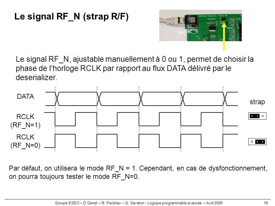 Groupe ESEO – D.Genet – R. Perdriau – G. Savaton - Logique programmable avancée – Avril 200918 Le signal RF_N (strap R/F) Le signal RF_N, ajustable ma