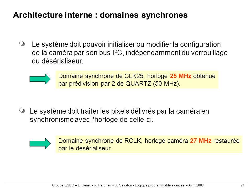 Groupe ESEO – D.Genet - R. Perdriau - G. Savaton - Logique programmable avancée – Avril 200921 Architecture interne : domaines synchrones Le système d